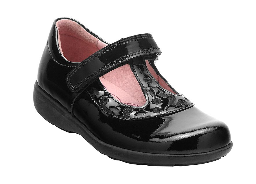 Girl`s beta black patent shoes