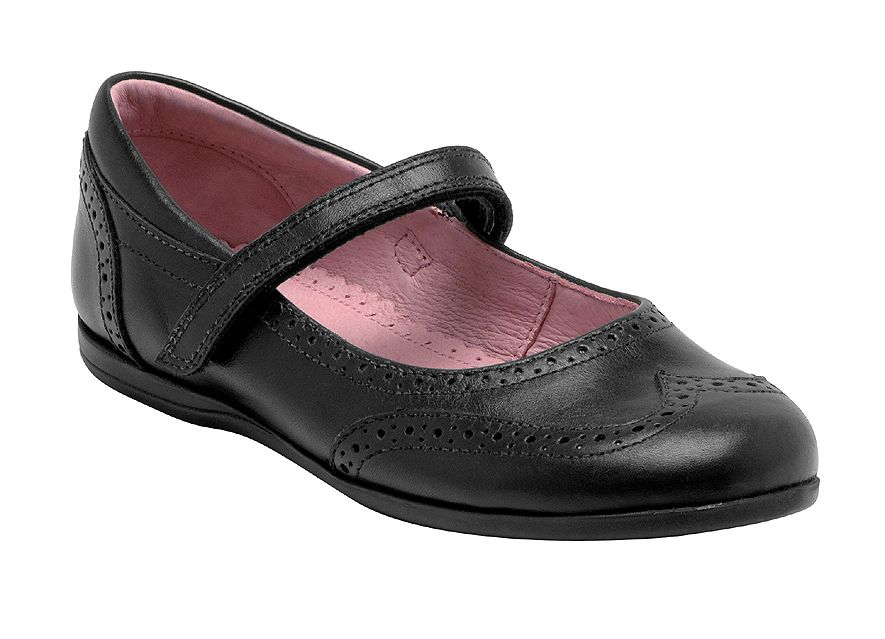 Girl`s wing black leather shoes