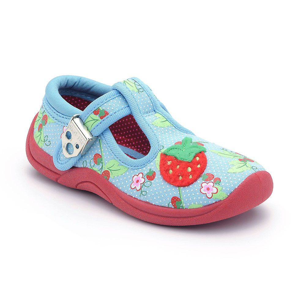 Girl`s strawberry cream blue canvas