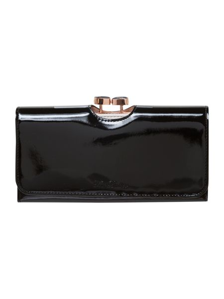 Ted Baker Enamel bow large black flap over purse