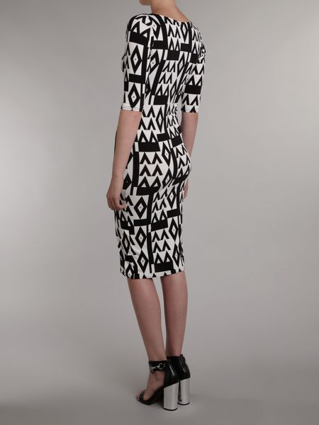 John Zack 3/4 Sleeve printed midi dress