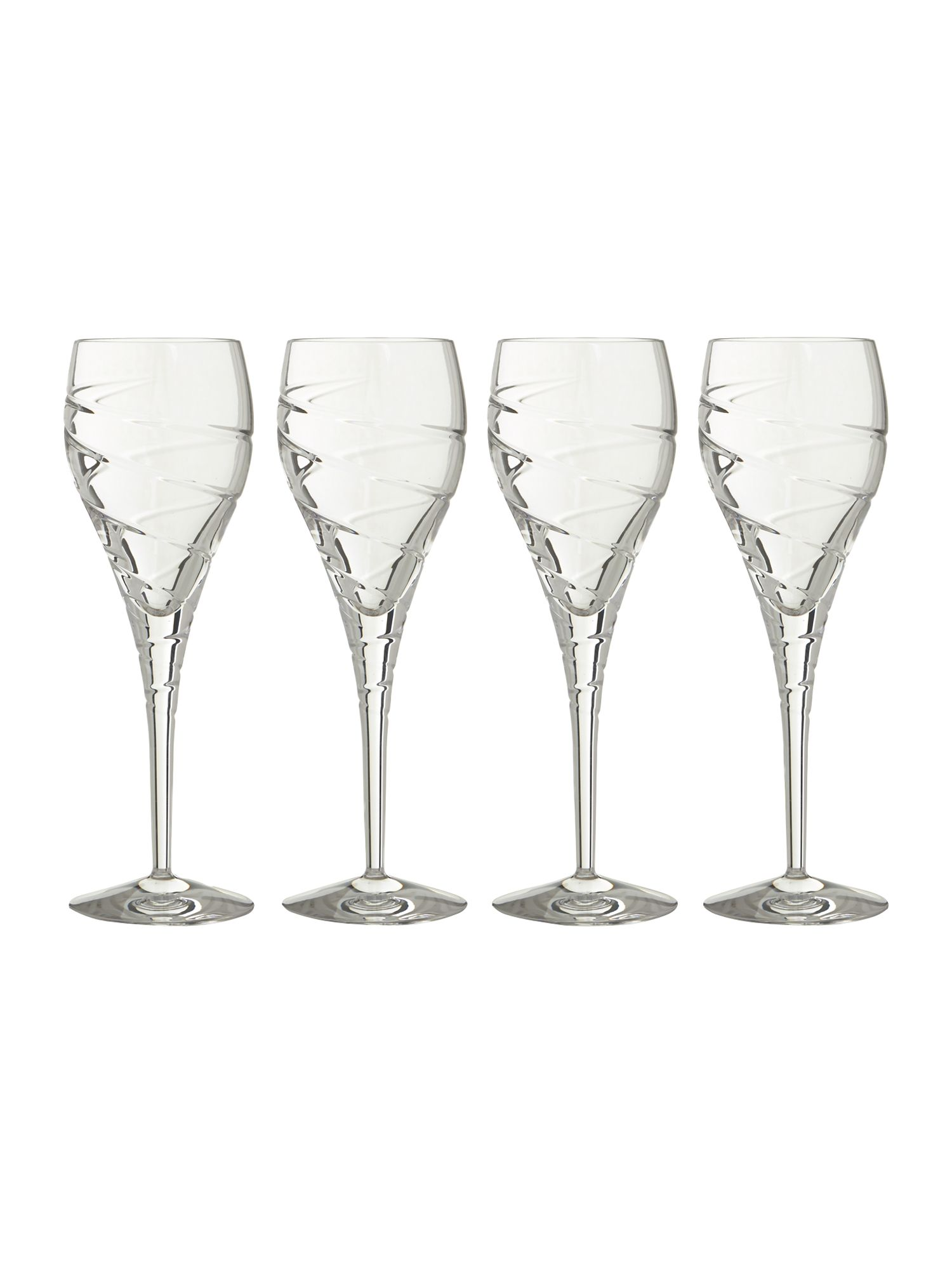 Linea Swirl white wine lead crystal glasses box of 4