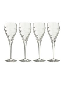 Linea Swirl white wine lead crystal glasses, box of 4