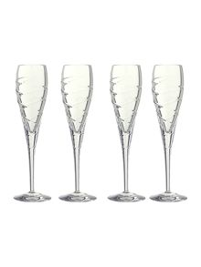 Swirl flute glasses, box of 4