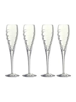 Swirl flute lead crystal glasses, box of 4