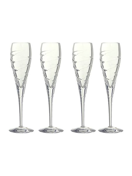 Linea Swirl flute lead crystal glasses, box of 4
