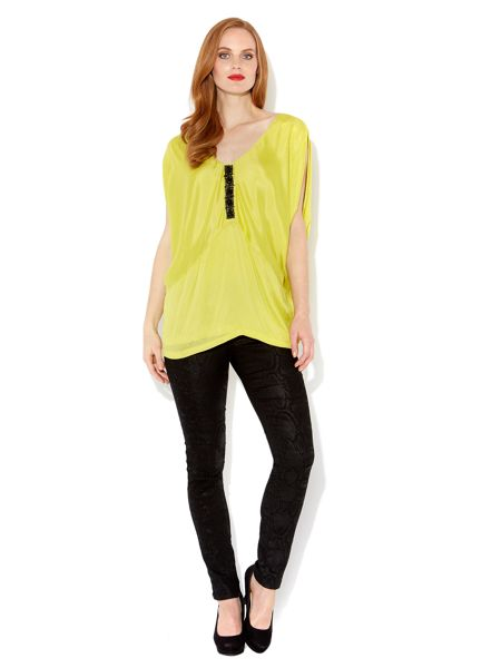 Biba Jewel v neck draped top