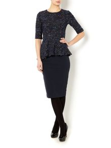 Satira 3/4 sleeved tweed peplum top