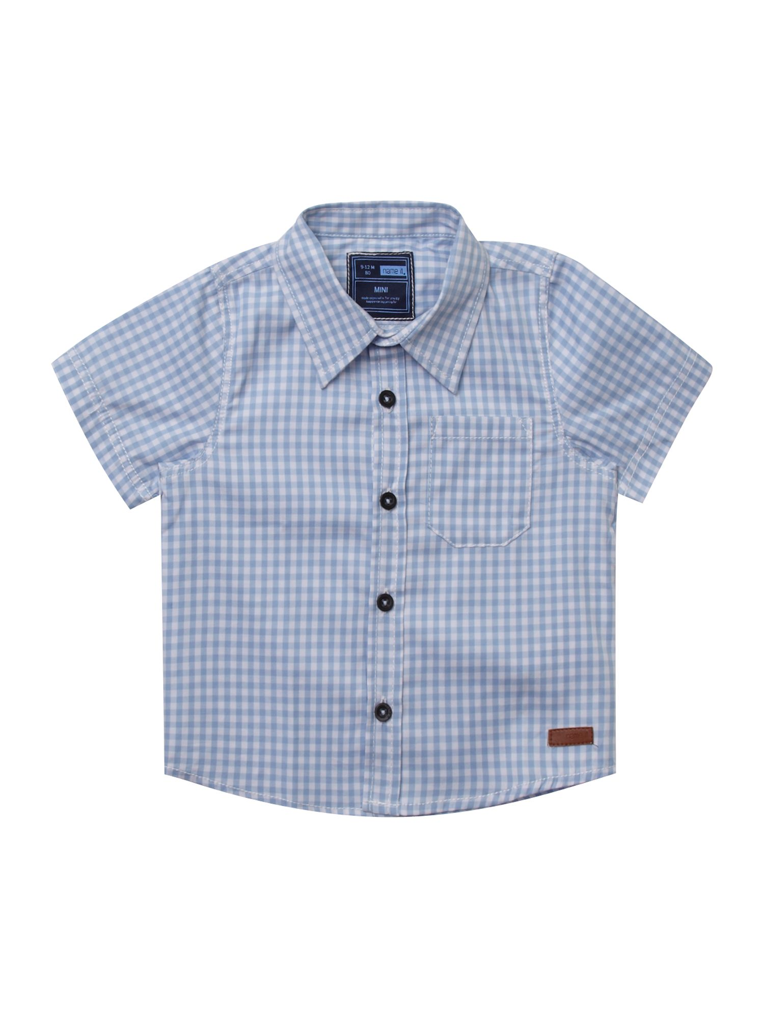 Boy`s short-sleeved gingham print shirt