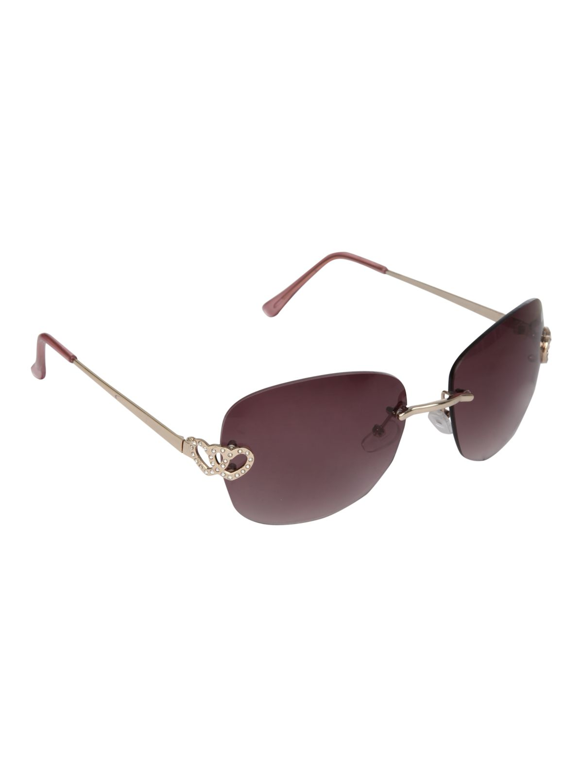 Rimless diamante heart sunglasses