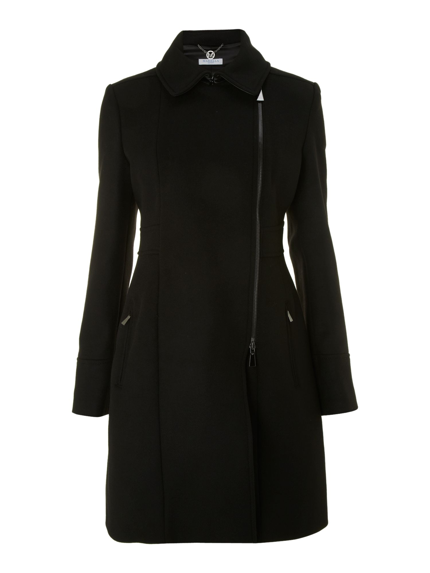 Battuta coat with leather revere collar