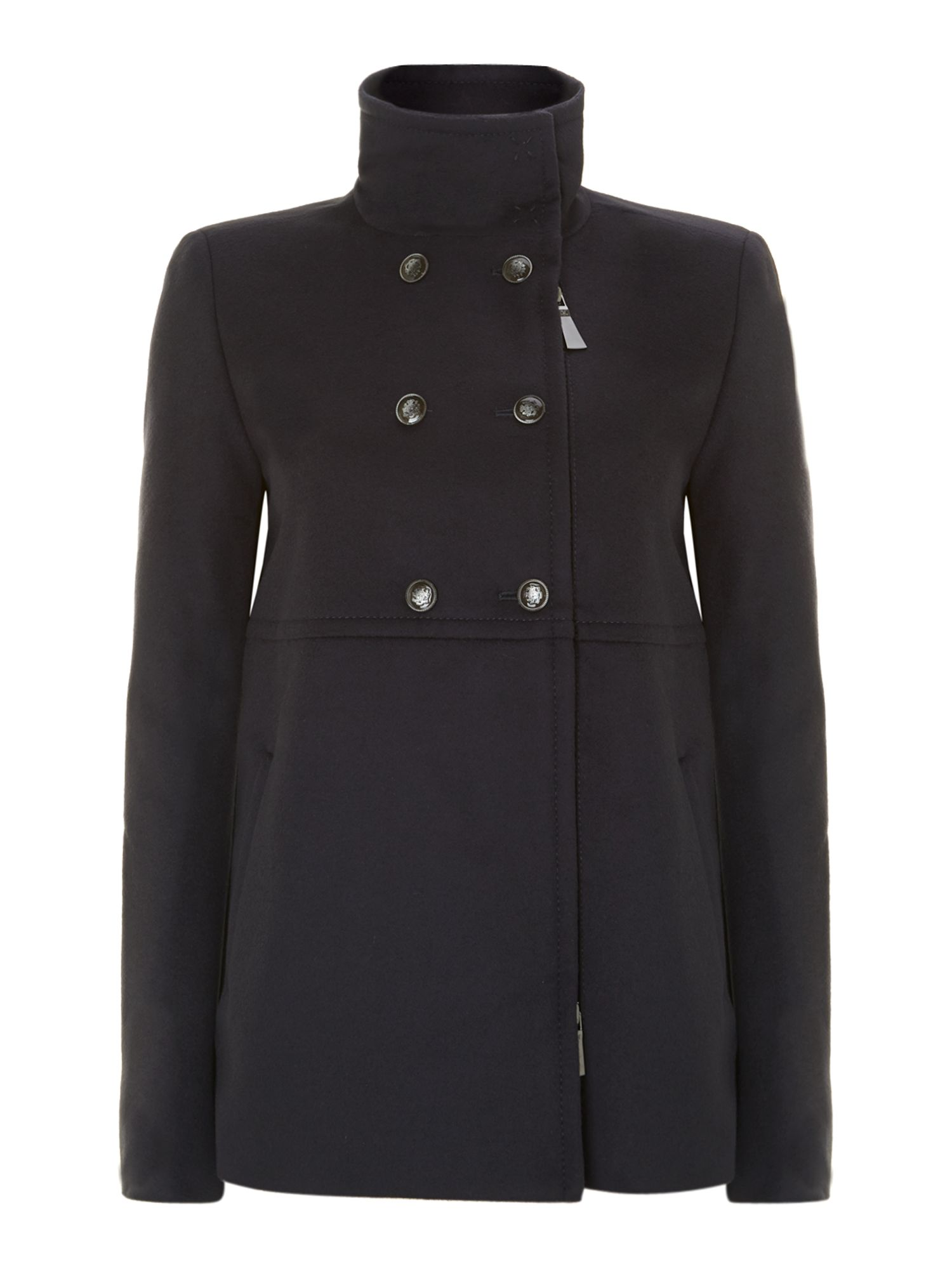 Avde long sleeve funnel neck peacoat