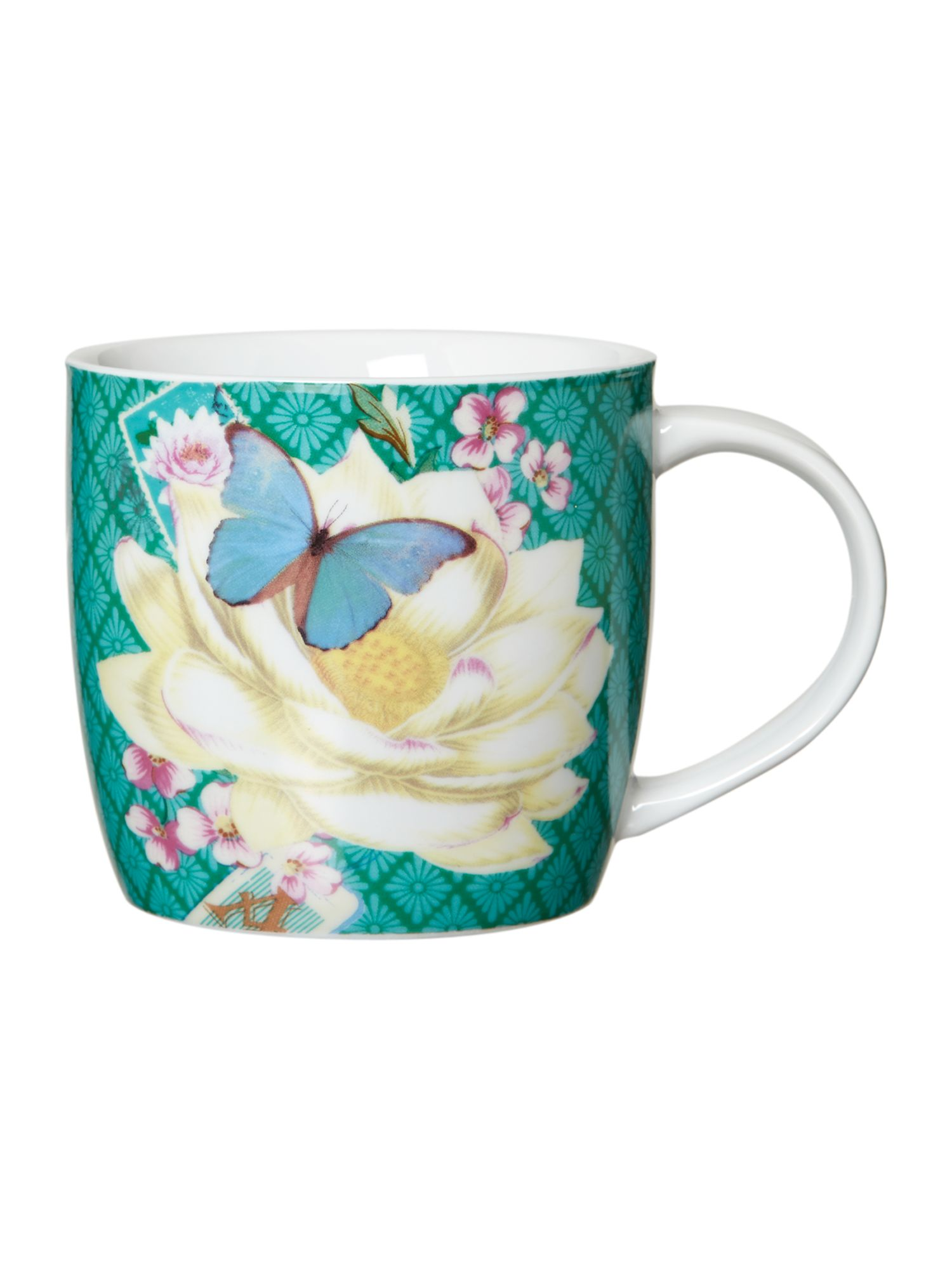 Mug in tin - green flower