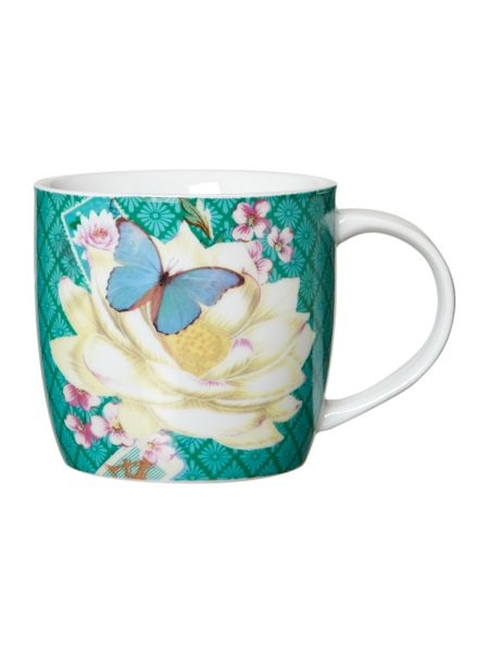 Accessorize Mug in tin - green flower