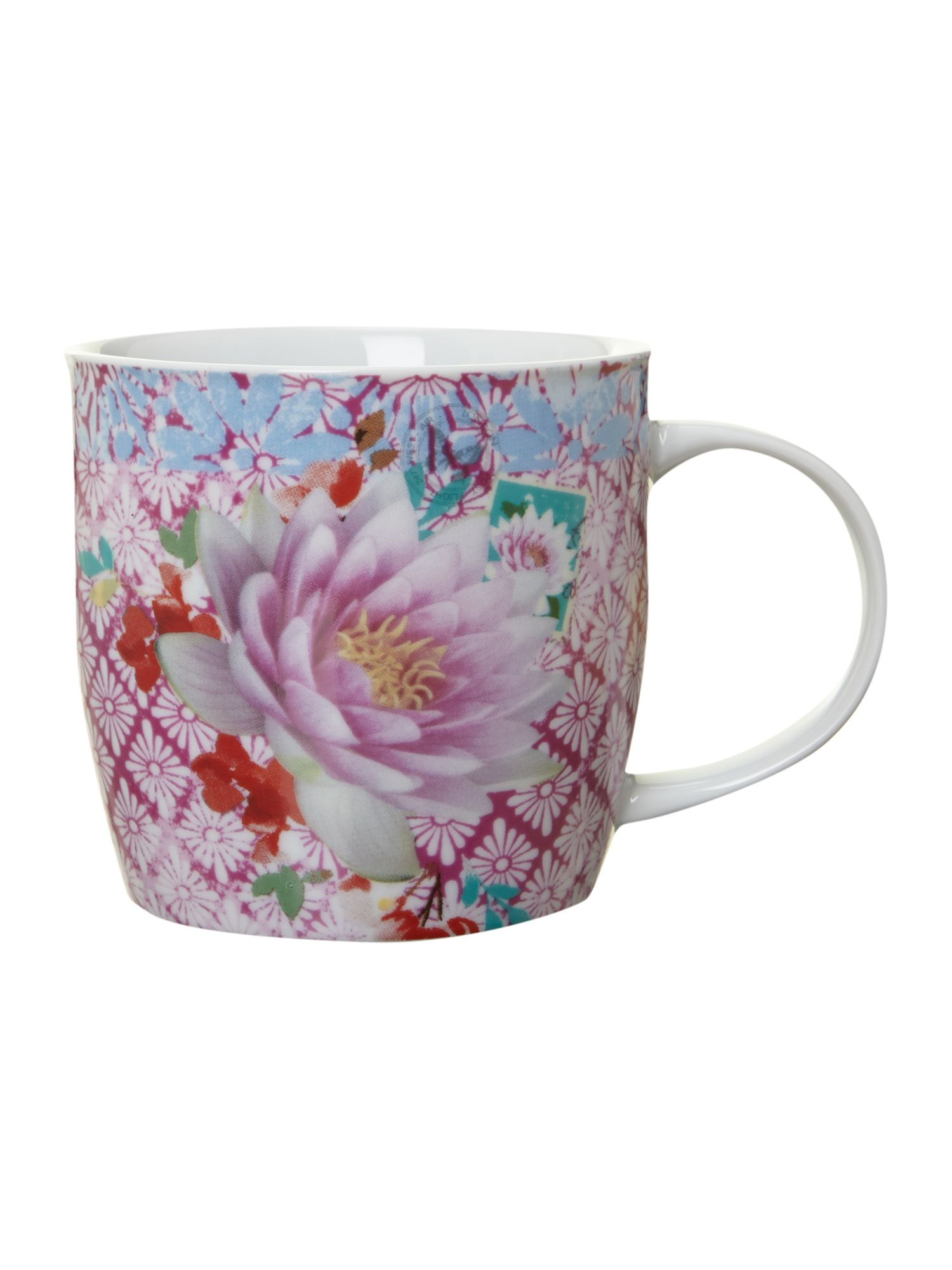 Mug in tin - pink flower