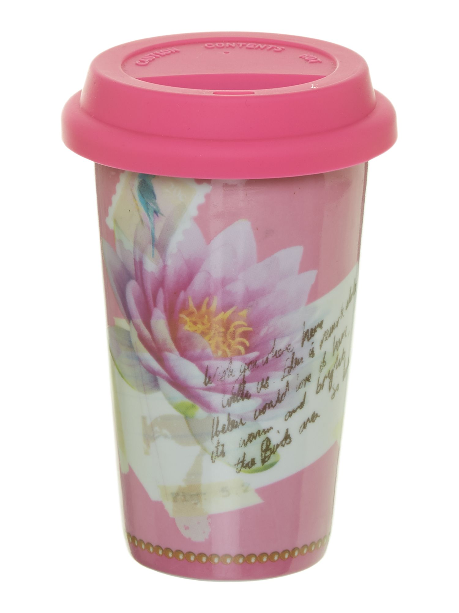 Mug to go pink flower