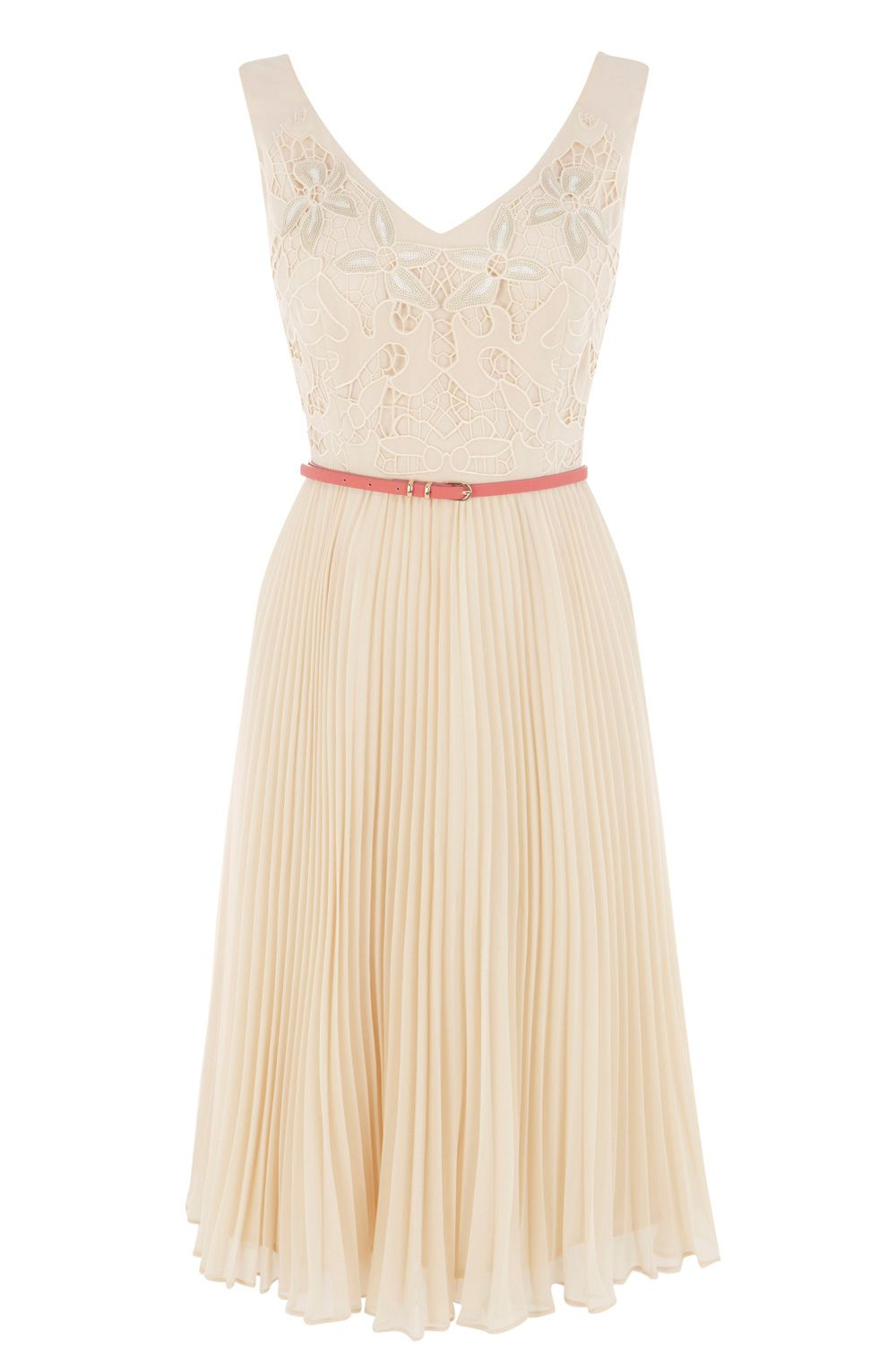 Emma cutwork pleat midi dress