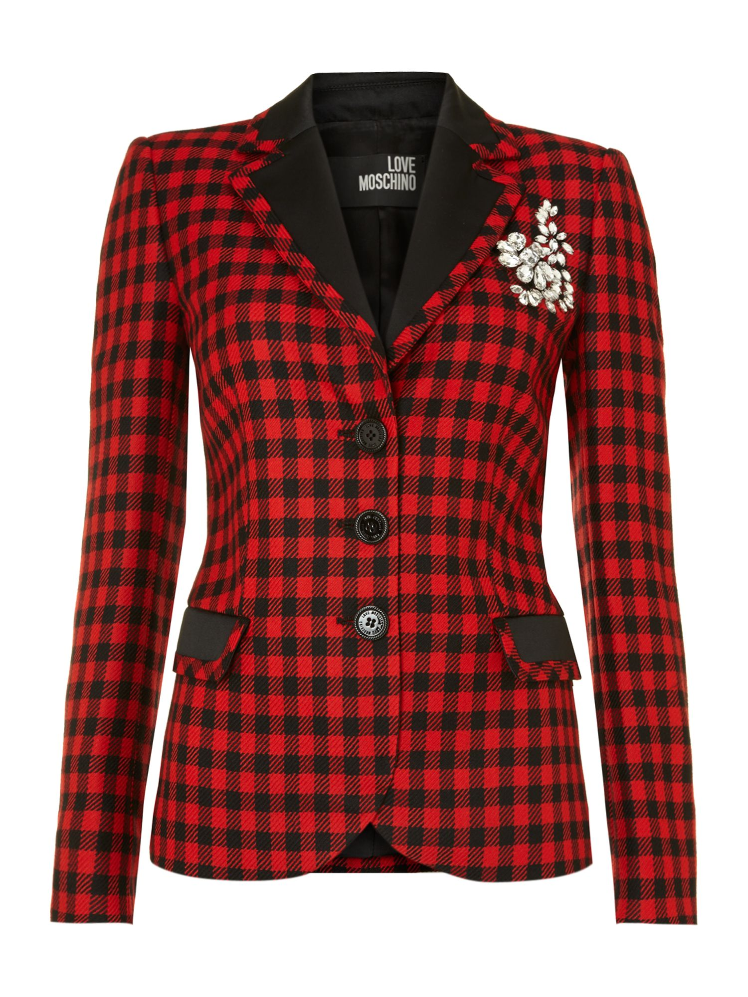 Long sleeved tartan blazer with brooch