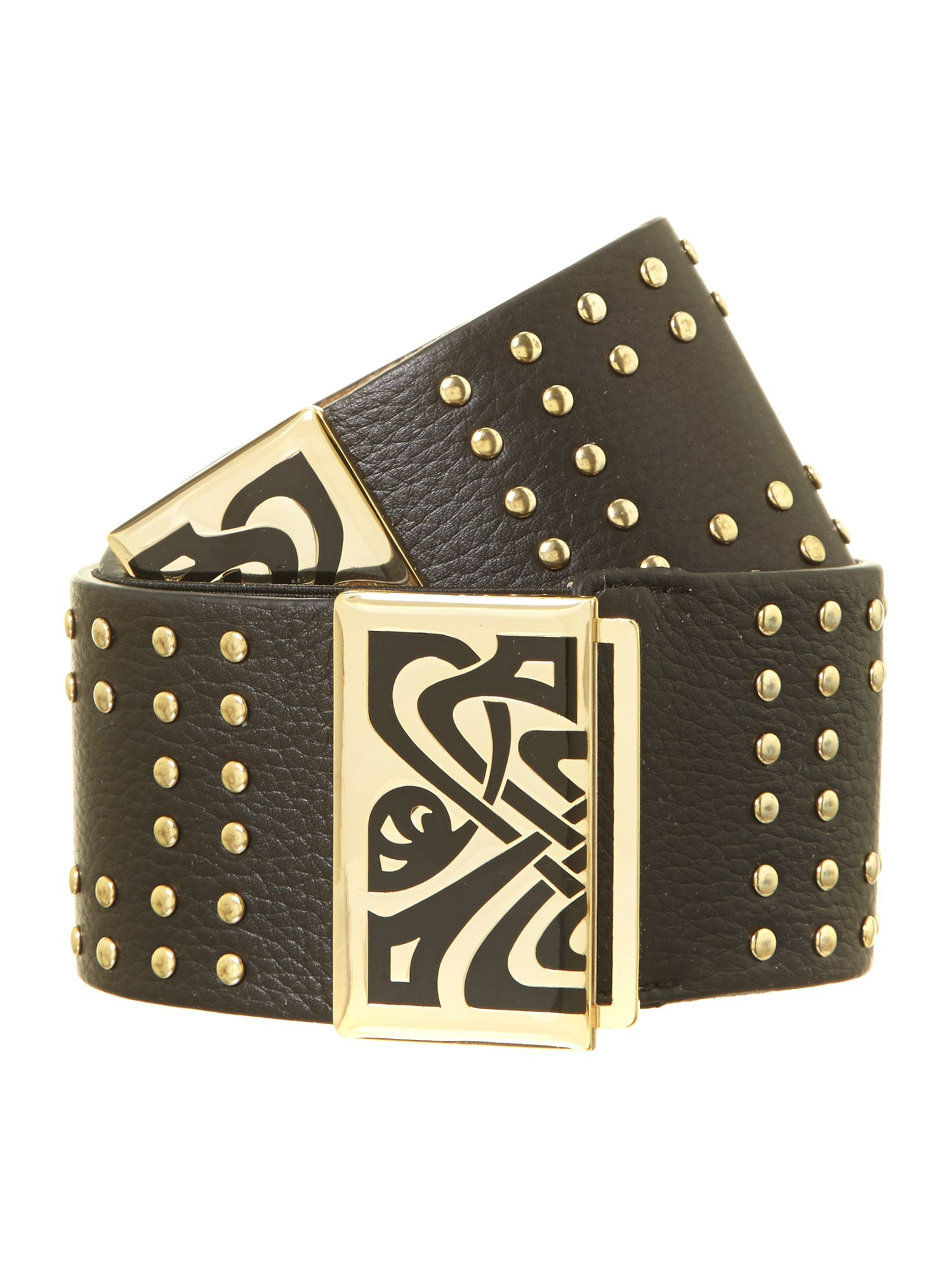 Studded enamel belt