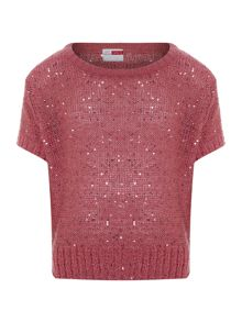 Girl`s slouch fit glitter jumper