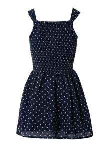 Girl`s spotty strap dress