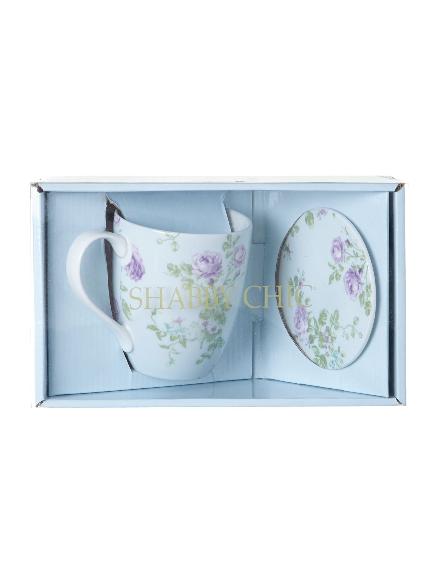 Boxed mug and coaster set rose jewel