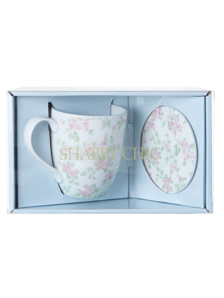 Shabby Chic Boxed mug and coaster set cherry blossom