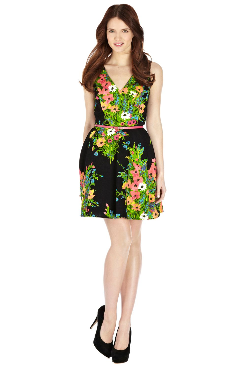 Fluro floral fit and flare dress
