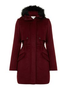 Ladies hooded wool parka coat