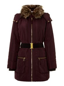 Puffer coat with faux fur collar and hood