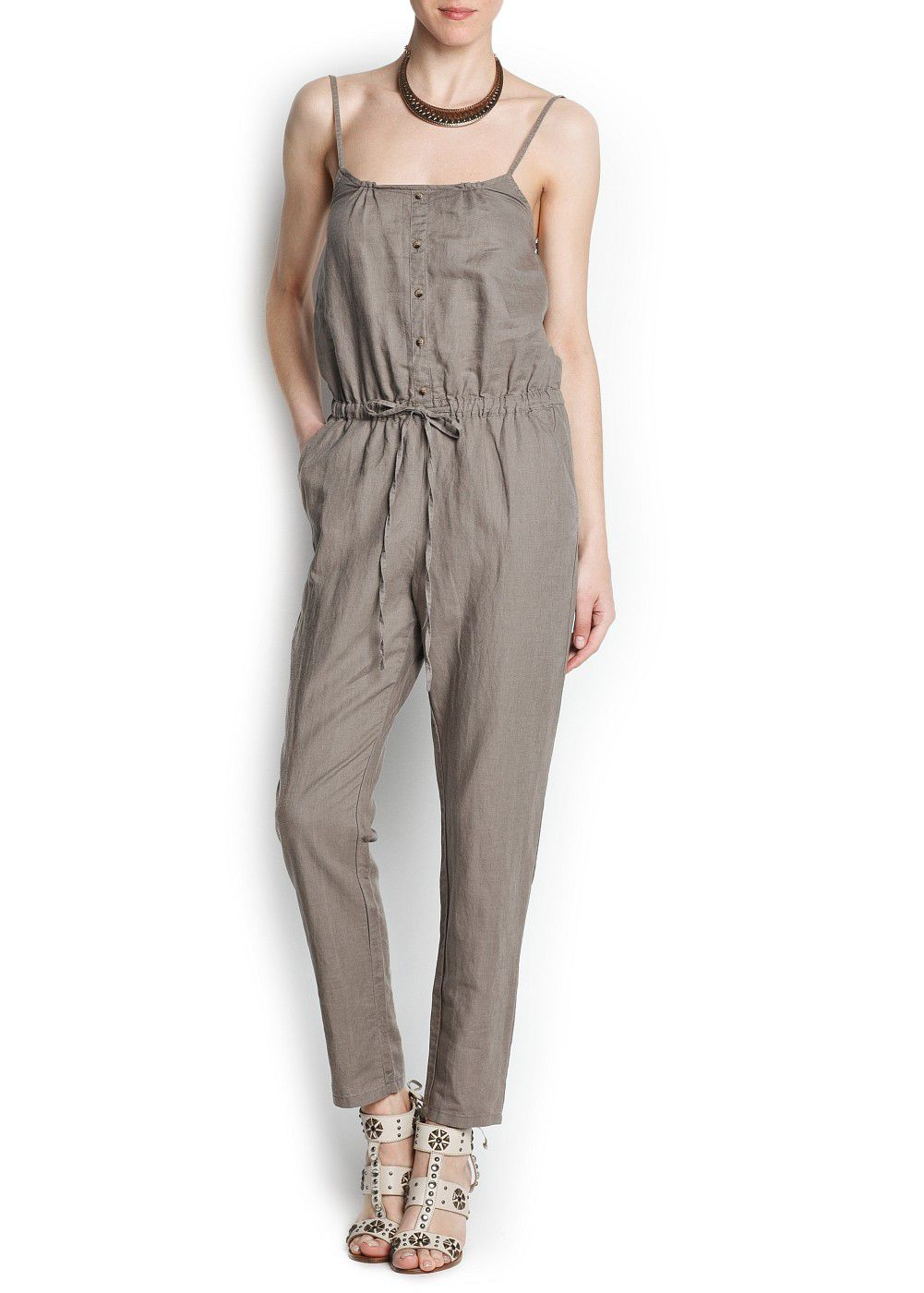 Linen cotton-blend long jumpsuit