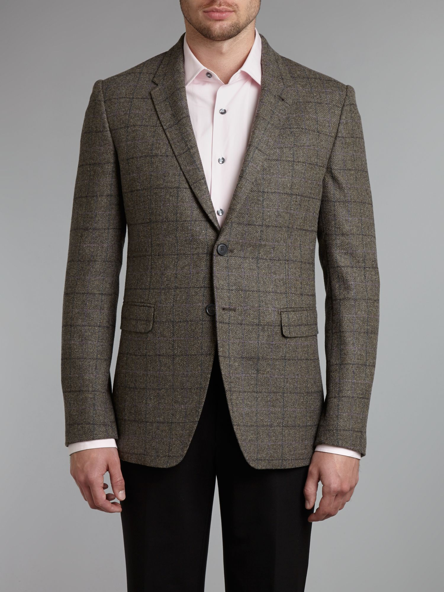 Byard wool check slim fit blazer
