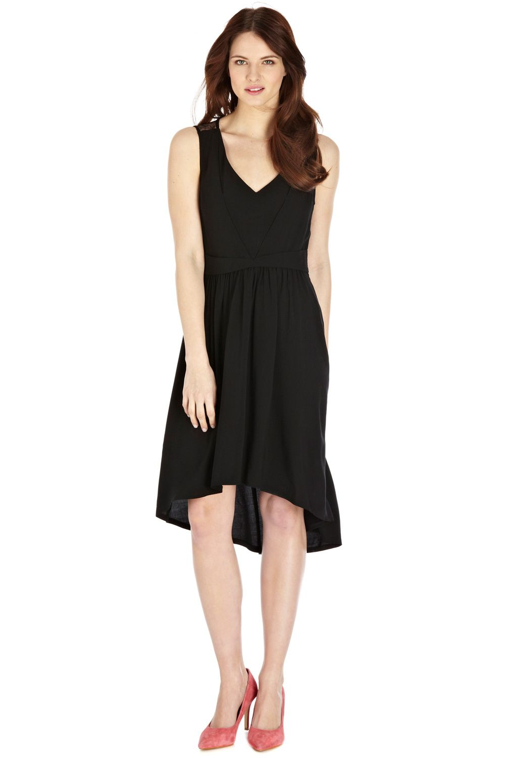 Lace yoke viscose dress