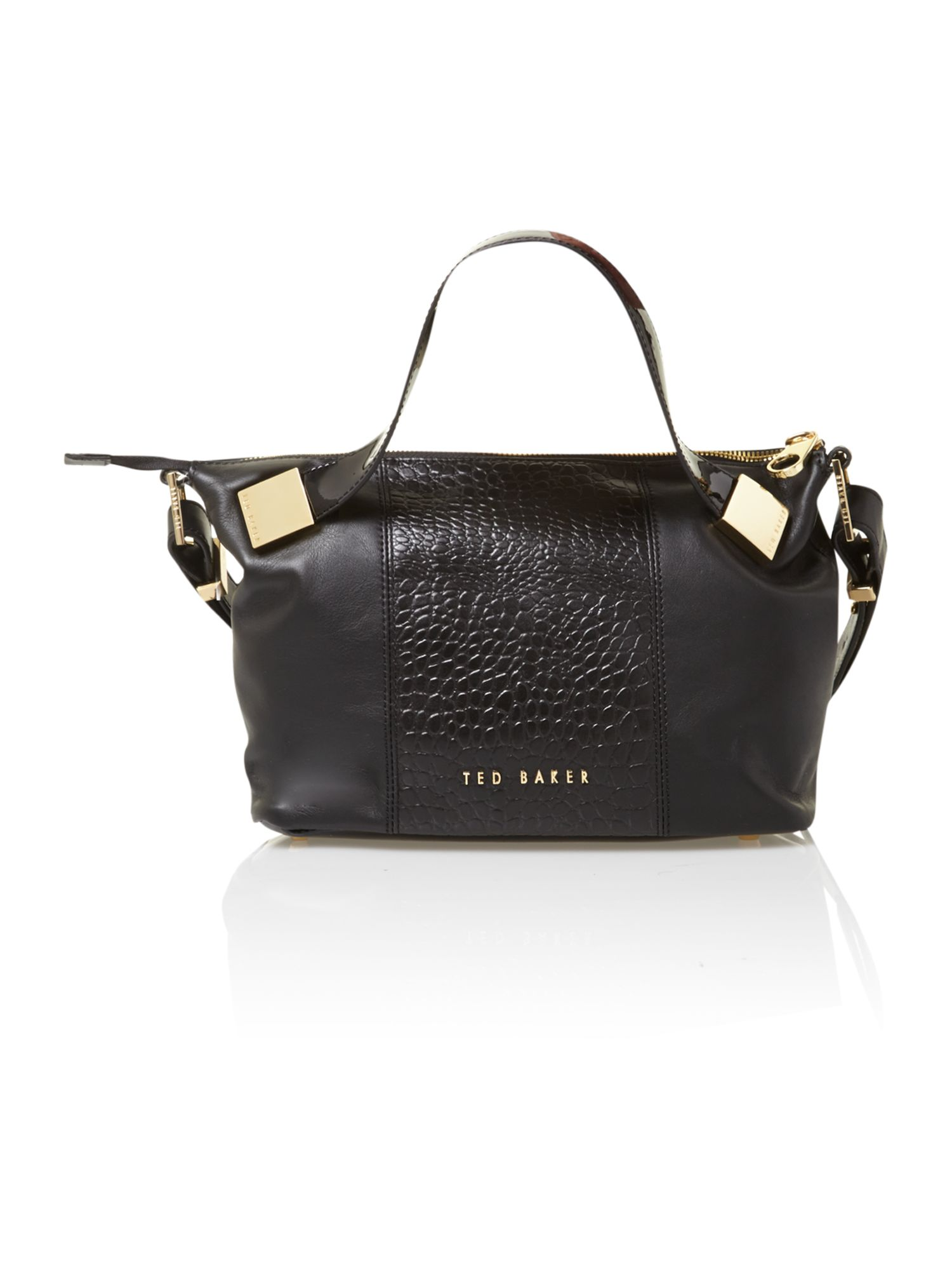 Ted Baker Croc leather black tote