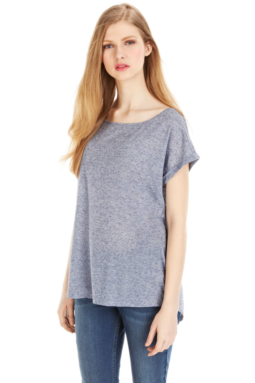 Tail back casual slub tee