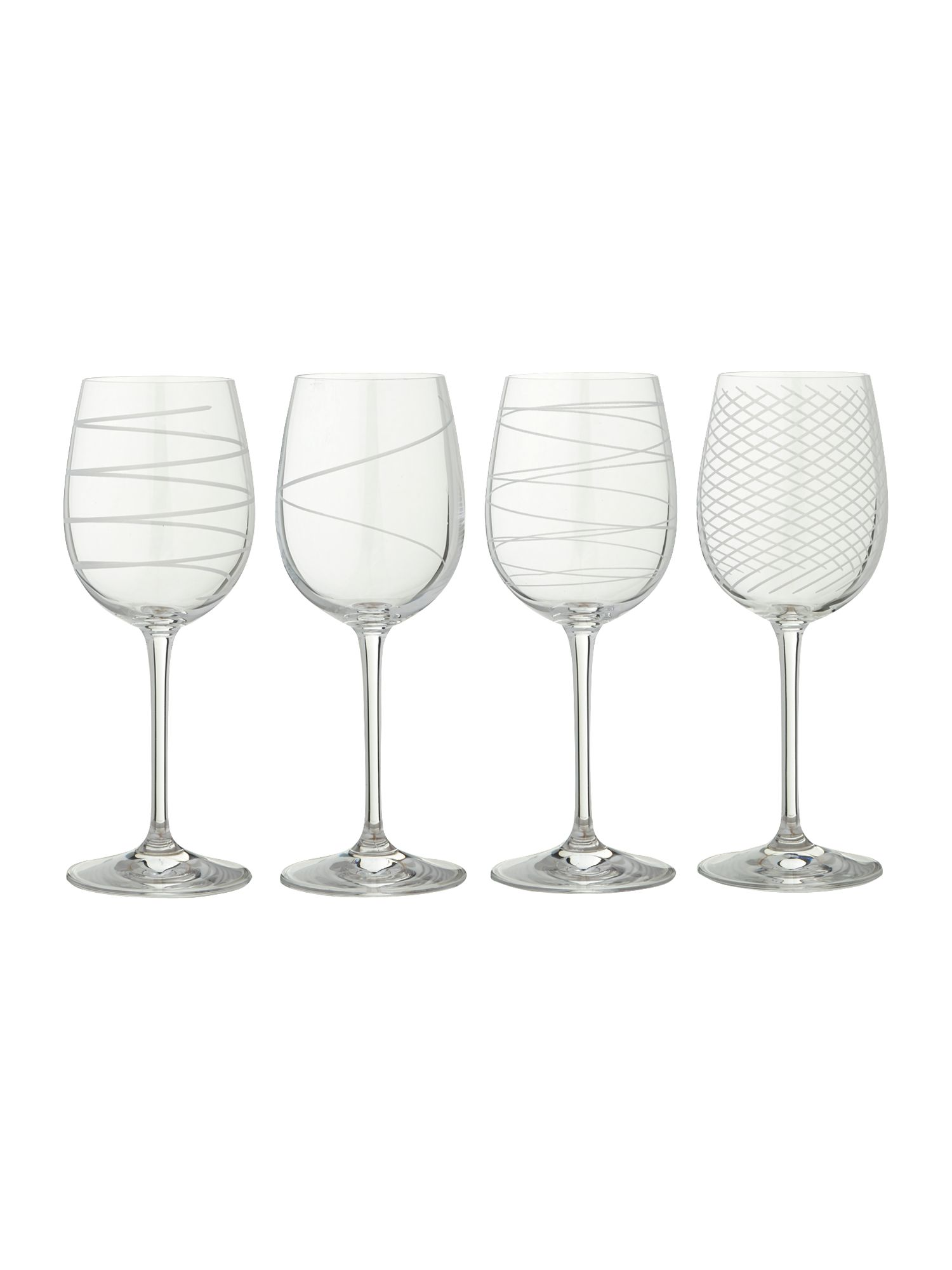 Etched wine glasses, set of 4