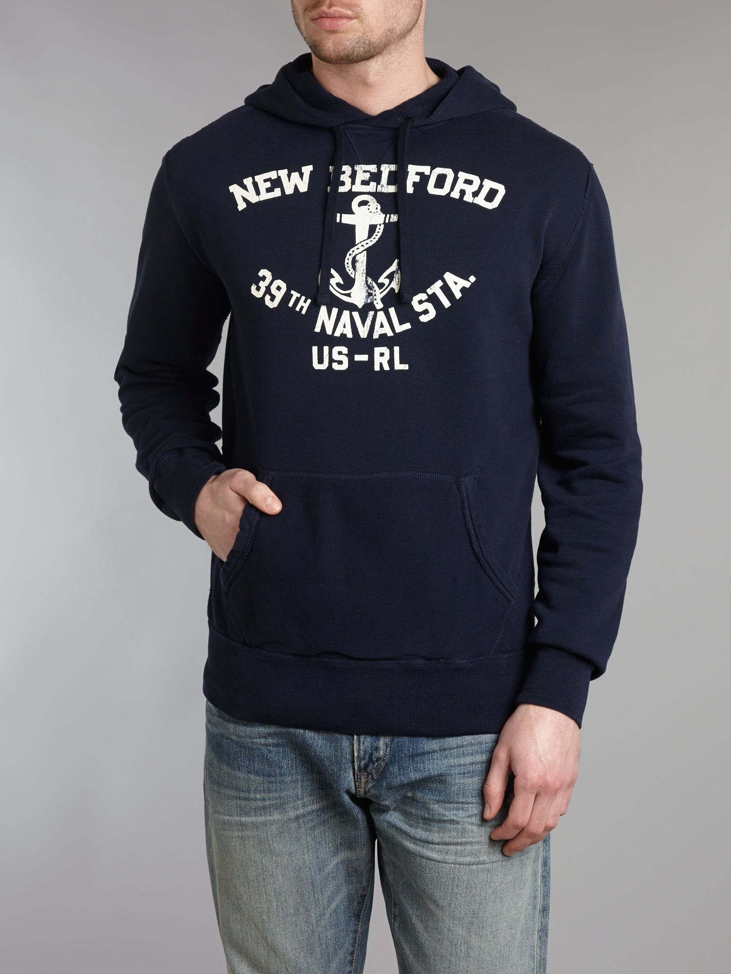 Hooded naval print sweater