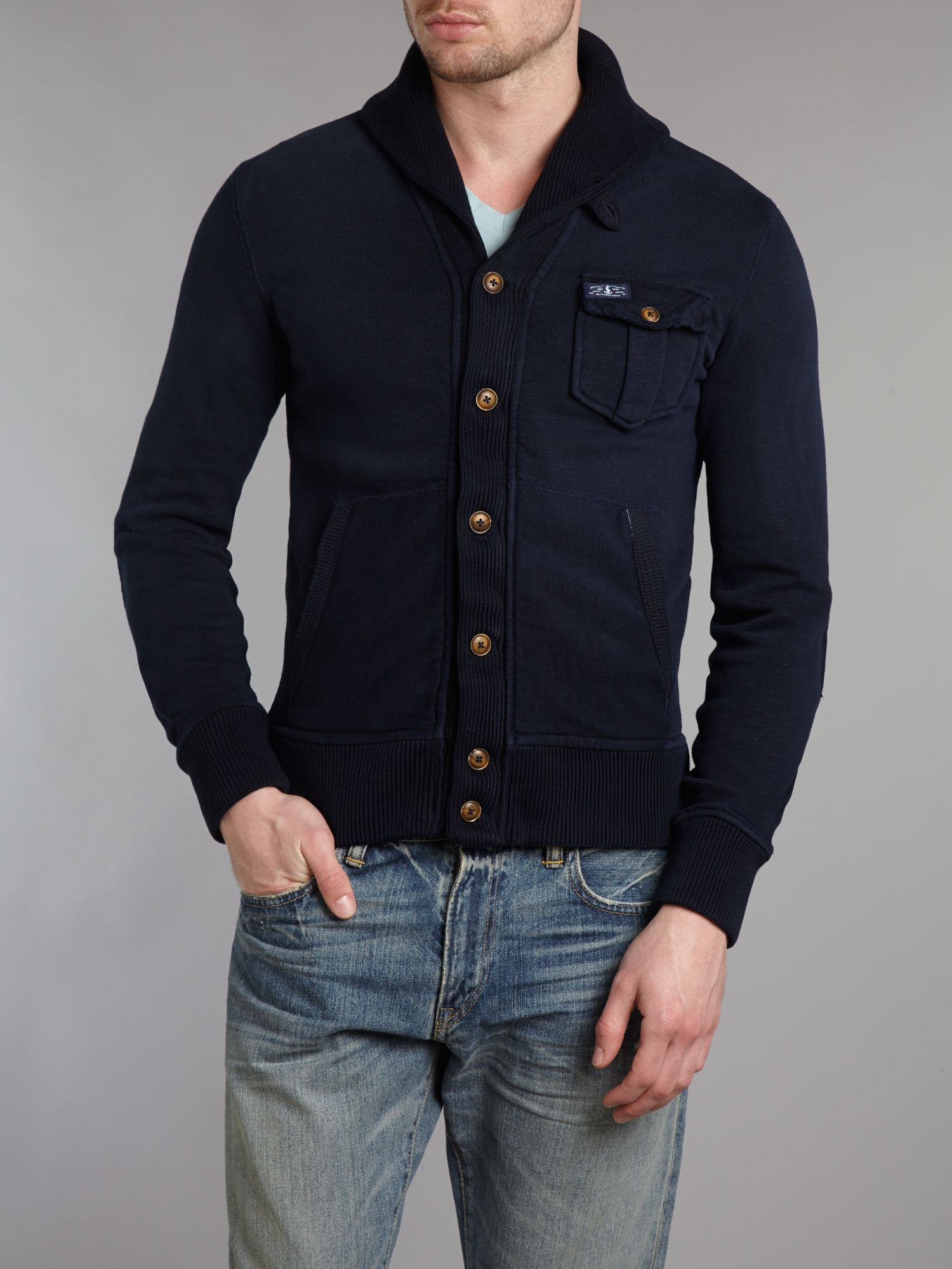 Brushed back fleece cardigan