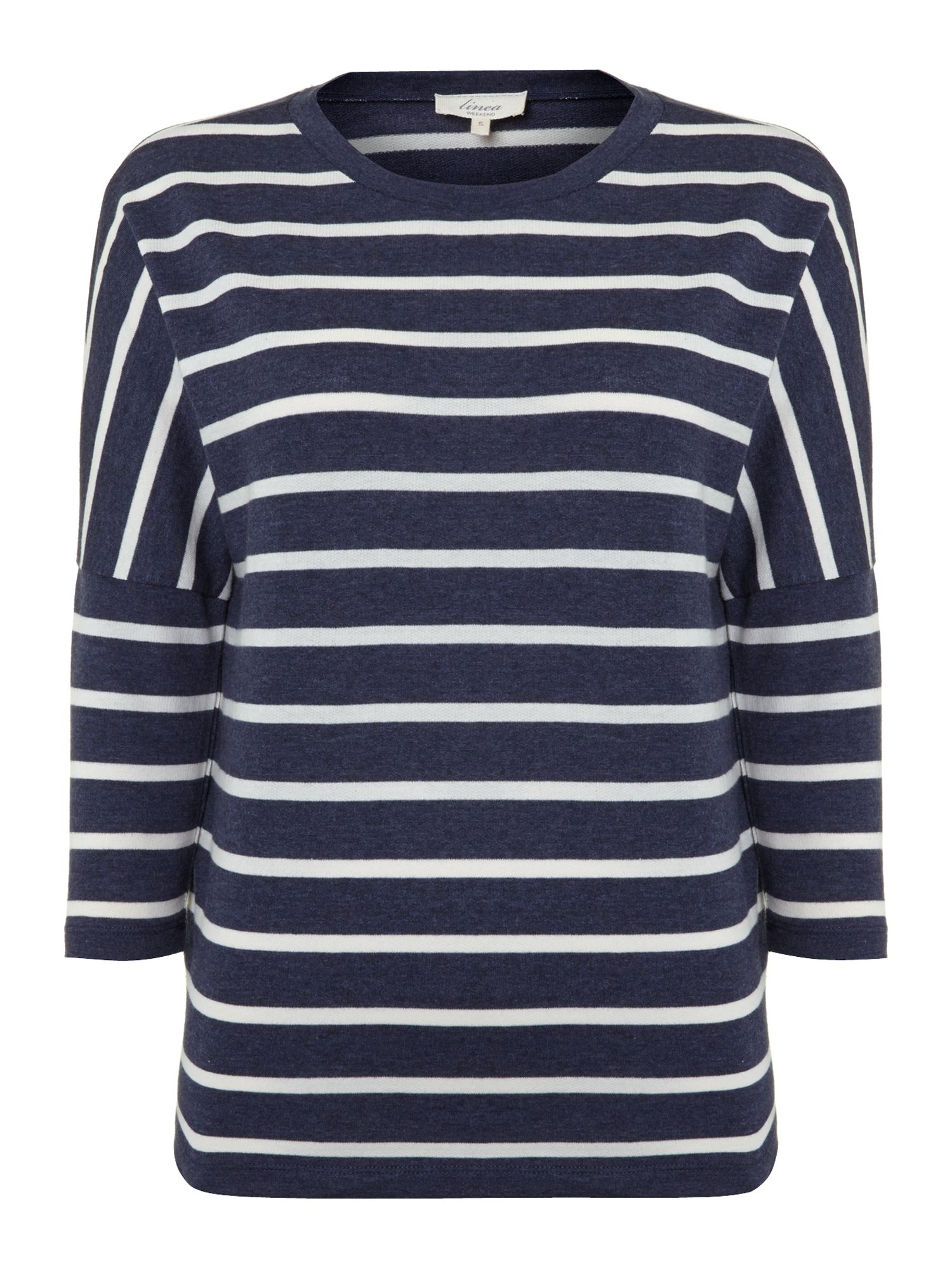 Ladies stripe loop back sweat top