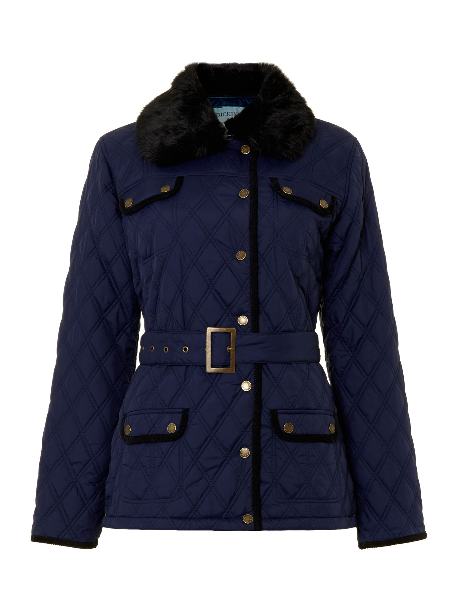 Ladies belted quilted jacket
