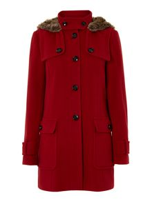 Ladies hooded wool duffle coat