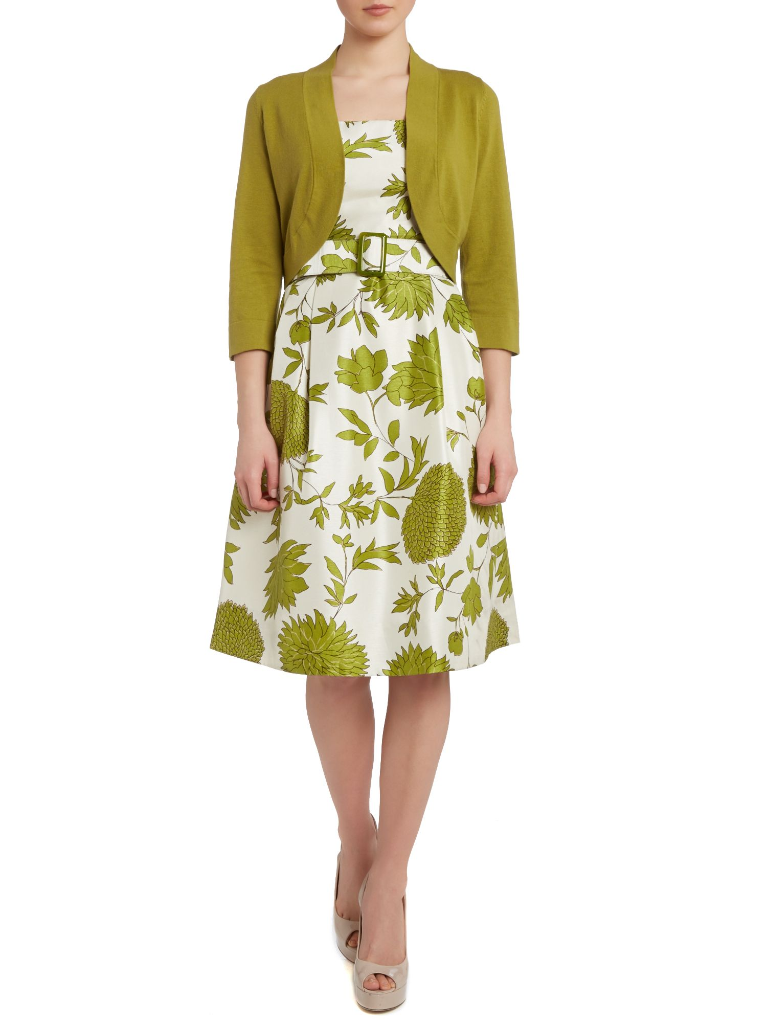 Ladies belted floral dress with cardi
