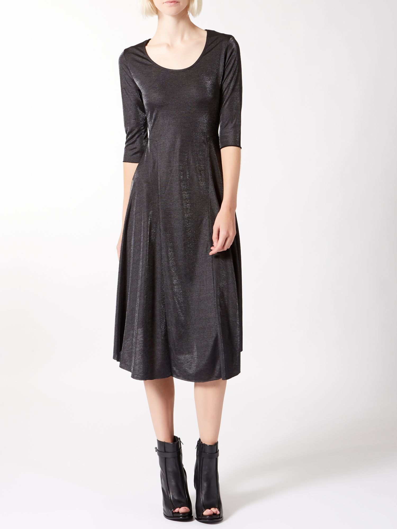 Metallic jersey swing dress