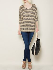 Striped animal jersey top