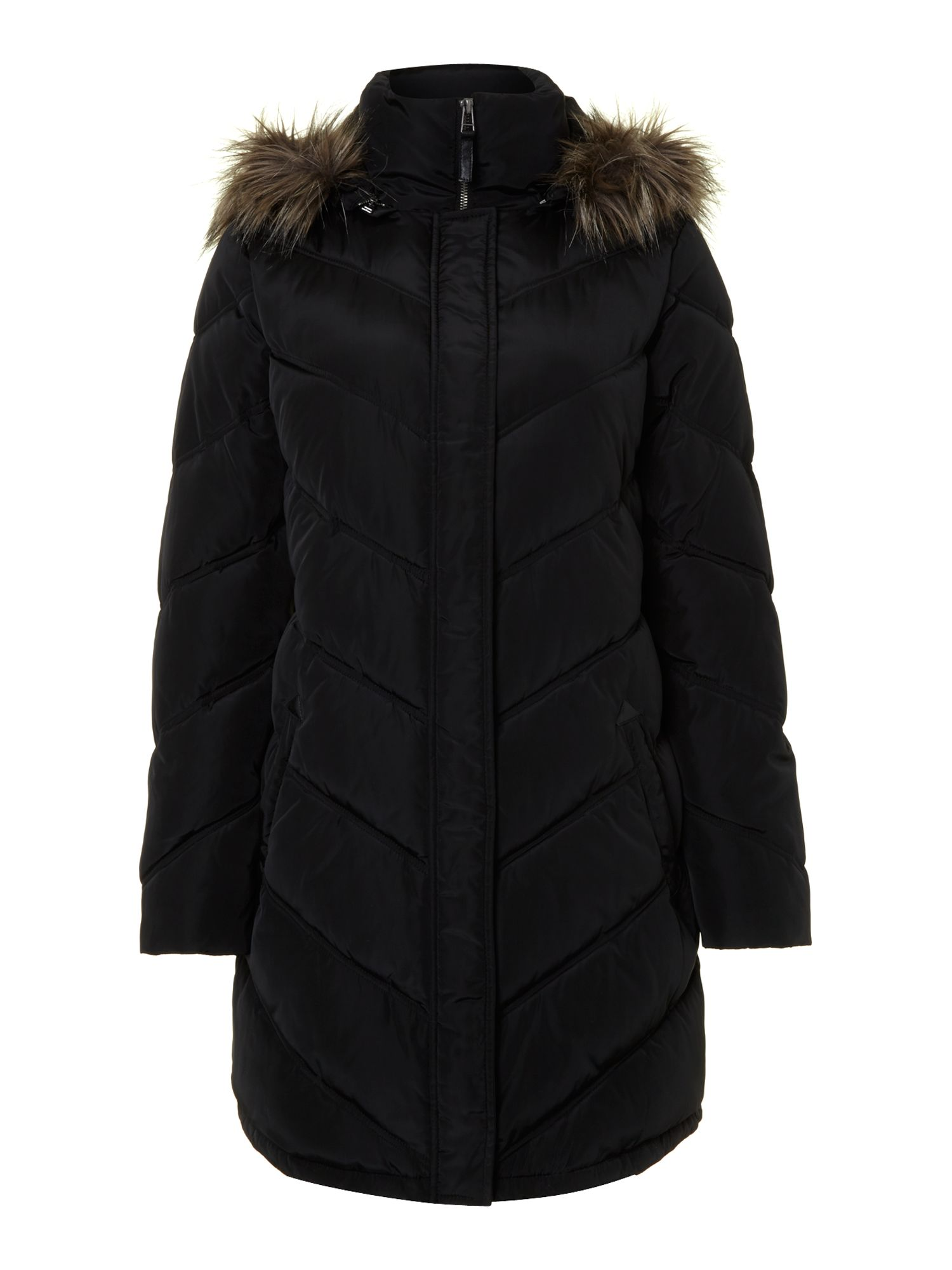 Long puffer coat with detachable faux fur hood