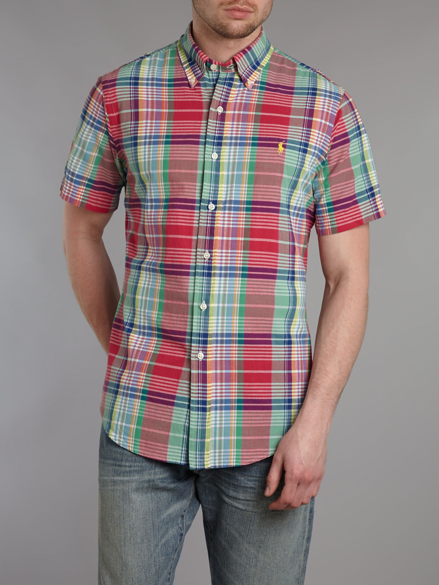 Short sleeved custom fit checked shirt