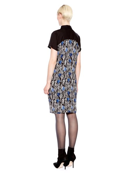 Pied a Terre Shirt Collar Short Sleeve Print Shift Dress