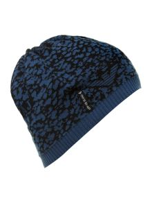 Animal and logo print knitted hat