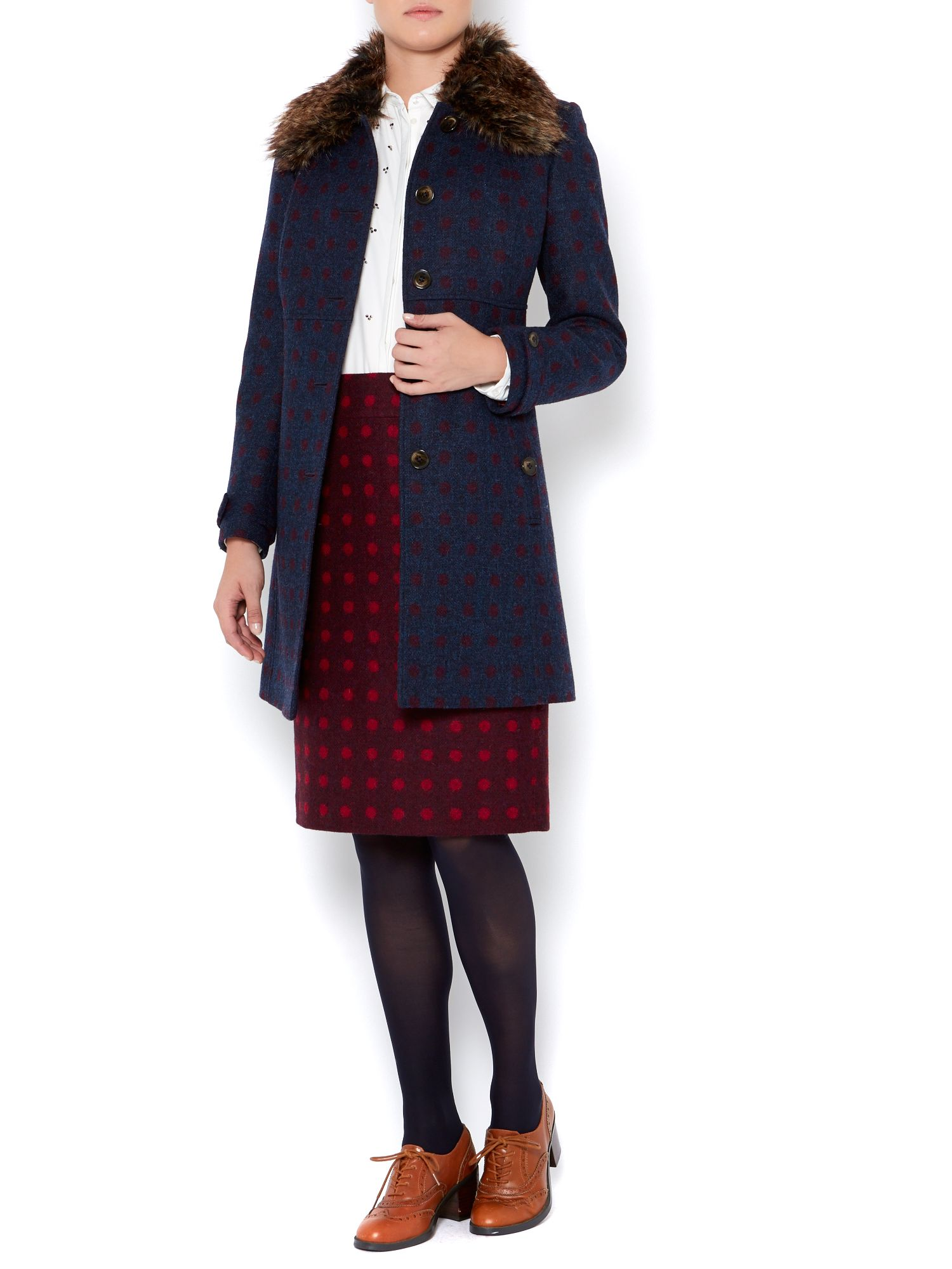 Ladies British spot wool pencil skirt
