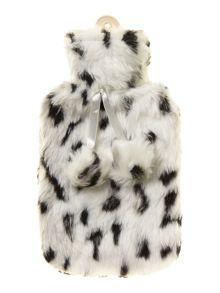 Black and white faux fur hot water bottle